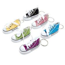 Favorict (6 Pack) Sparkle Canvas Mini Sneaker Shoe Keychain Keyring