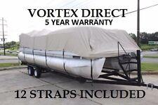 NEW VORTEX 15 - 16 FT ULTRA 3 PURPOSE PONTOON BOAT COVER/BEIGE/TAN/BEIGE
