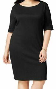 Karen Scott Women's Dress Solid Black Size 0X Plus Shift Knee-Length $54