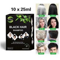 10pcs Instant Black Shampoo Grey White Hair Darkening Shinny in 5 Minute 25ml