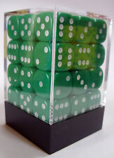 PACK OF 36 GREEN OPAQUE SPOTTED DICE 6 SIDED 12mm SIDE