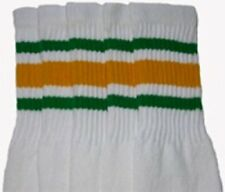 "19"" MID CALF WHITE tube socks with GREEN/GOLD stripes style 3 (19-67)"