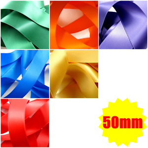 """** 50mm (2"""") DOUBLE  SIDED SATIN POLYESTER RIBBON with WOVEN EDGE - 27 COLOURS"""