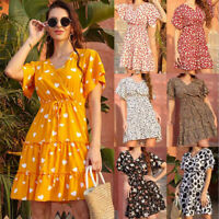Women Boho Summer Beach Dresses Evening Party Ladies Mini Maxi Sundress Dress UK