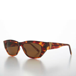 Chunky Mod Vintage Sunglass with Gold Bling Tortoiseshell / Brown Lens- Val