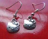Lovely Silver HELLO KITTY Earrings on  .925 Sterling Silver French Hooks