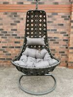 Suntime Cocoon Brown Garden Rattan Hanging Chair Swing Cream Cushion Wicker For Sale Ebay