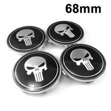 4 Pcs Wheel Center Hub Caps Black/Silver Skull Emblem Badge Decals 68mm For BBS