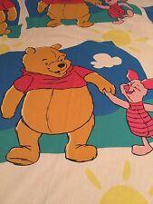 Vintage Disney Winnie the Pooh & Piglet Twin Flat Sheet -- Craft Fabric Material