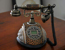 Brown Antique Phone Vintage Retro Dial Classic Old Fashioned LCD Telephone Home