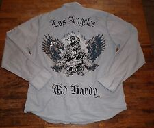 ED HARDY Los Angeles LS 2 Pocket Skull Collar Buttonfront Shirt Size XL