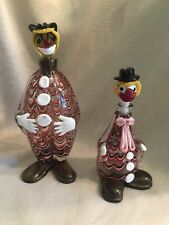(2) VINTAGE MURANO  CLOWN  DECANTERS  --  TOSCANY