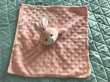 Elegant Baby Bunny Rabbit Security Blanket Pink Satin Minky Dot Bumpy Lovey GUC