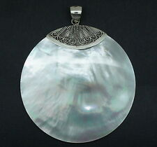 Handcraftd Sterling Silver BIG Mother Of Pearl Pendant Elegant  - New