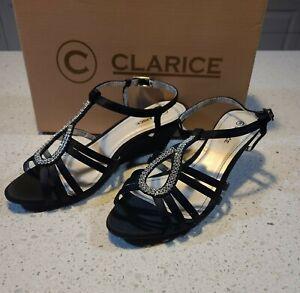 Ladies Shoes Clarice - JULES- Black Diamonte Dressy , New Size 8