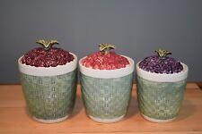 Pfaltzgraff Jamberry Canister Set Grapes Cherries Raspberry Basket Weave Mint