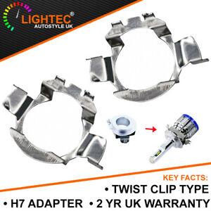 2 H7 LED ADAPTER HOLDER RETAINER HEADLIGHT BULB MERCEDES FORD AUDI VW TWIST CLIP