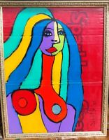 PICASSO LIKE NUDE PAINTING Original SWARTZMILLER DNA SIGNED Pop Art OUTSIDER New