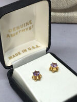 14k Yellow Gold High Claw Mount Amethyst Stud Pierced Earrings