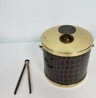 Vintage Serv-Master Creations Ice Bucket MCM Brass Hollywood Regency Top 50s 60s