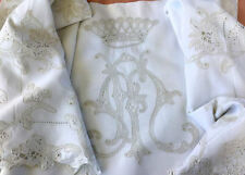 Exceptional French Linen Vintage Bed Sheet with Noble Crown Embroidery and Lace