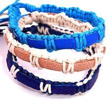 Lot de 3 Bracelet Brésilien Amitié Bonheur Cuir Friendship turquoise bleu blanc
