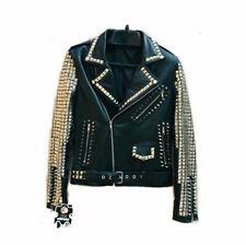 New Men Punk Black Full Silver Studded Star Style Brando Biker Leather Jacket