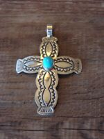 Navajoi Indian Sterling Silver Turquoise Cross Pendant by Arnold Blackgoat! H...