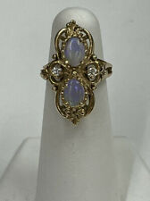 Vintage 14K Yellow Gold Double Opal and Diamond Cocktail Ring Size 4