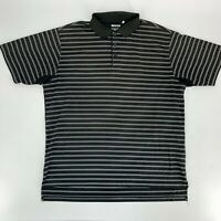 Adidas Mens Golf Shirt Size Large L Black Stripe Clima Cool Short Sleeve Polo M