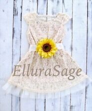 Sunflower Ivory Rustic Lace Flower Girl Dress, Lace Baby Dress by Ellura Sage