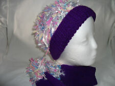 Hand-knitted Hat and Fingerless Gloves Ref 239