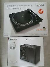 Lenco L-400 33 & 45 RPM Direct Drive USB Turntable Plus Edifier R1100 Speaker UK