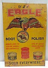 Vintage Eagle Boot Polish Advertising Tin Sign Graphics Depicting Eagle & Tin #1