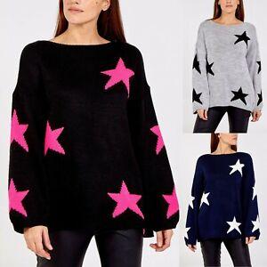 Women's Ladies Star Print Knitted Oversized Lagenlook Jumper Sweatshirt Top New
