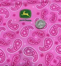 "52"" x 45"" OOP John Deere TRACTOR  PINK PAISLEY Green Logo Cotton Fabric"