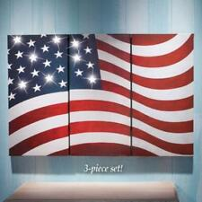 3 Pc Panel Tryptic Led Lighted American Flag Canvas Wall Art Set