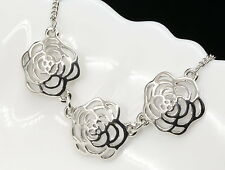 Camellia 3 flowers pendant white gold plate chain necklace accessory jewelry S72