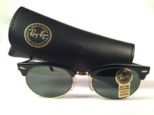 VINTAGE RAY BAN CLUBMASTER OVAL BLACK & GOLD G15 GREY LENS  1990 B&L SUNGLASSES