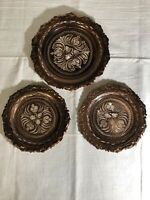 Gulistan Ornate Etched Copper Plates with Hangers, 3 Plates, Made In Turkey