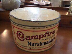 "Vintage Original Metal Campfire Marshmallow Tin 5lb. 10"""
