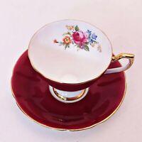 Vintage Taylor Kent Tea Cup Deep Rose Bone China Spring Floral Design Gold Gild