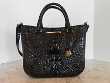 New BRAHMIN Small Lena BLACK Leather Satchel $295 BLACK