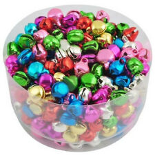 100 Pcs Colorful Aluminum Beads Christmas Jingle Bells Pendants Charms 8x6 mm