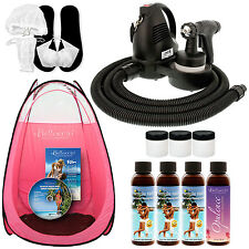 Sunless Airbrush SPRAY TANNING SYSTEM 4 Simple Tan DHA Solution Kit Pink Tent