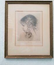 Vintage Hedwig Von Schlieben Portrait Of The Profile Of Little Girl in Pigtails