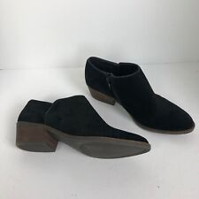 Lucky Brand Womens Faithly Black suede Ankle Boots Size 8.5 booties side zipper