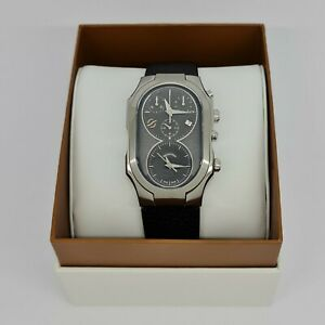 Philip Stein 300SDGCSTR Signature XL Dual Time Mens Watch  w/ Free Leather Strap