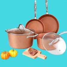 6 Piece Hammered Copper Nonstick Pots & Pans Set Induction Kitchen Cookware Sets