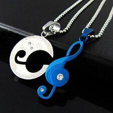 CADENA Compañeros LOVE musicales Claves notas azul acero inox. 2 COLGANTE PAREJA